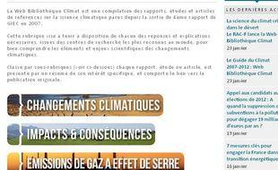 Capture d'écran du site de la bibliothèque en ligne du Réseau action climat France.