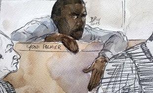 Dessin de Yoni Palmier, connu sous le surnom de tueur de l'Essonn, dont le procès s'achève ce jeudi 1 avril devant la Cour d'Assise d'Evry.