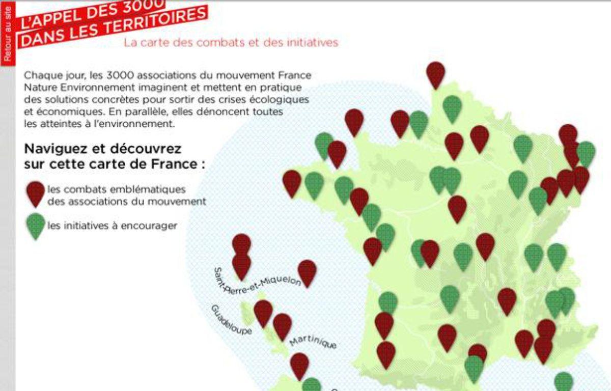 La carte de France des combats environnementaux publiée par France Nature Environnement, le 23 janvier 2012. – FNE