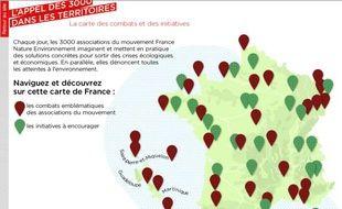 La carte de France des combats environnementaux publiée par France Nature Environnement, le 23 janvier 2012.
