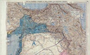 Photo des archives nationales britanniques de la carte de l'accord Sykes-Picot