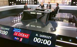 François Hollande et Nicolas Sarkozy lors du débat télévisé le 2 mai 2012