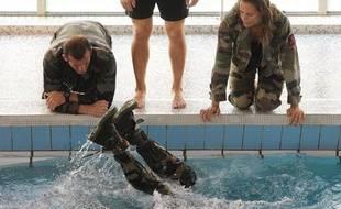 Laure MANAUDOU lors d un entrainement a la base de fusiliers marins et commandos. LANESTER, le 14/09/2011