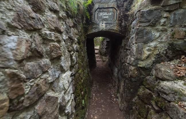 Dans un tunnel du Hartmannswillerkopf, côté allemand.