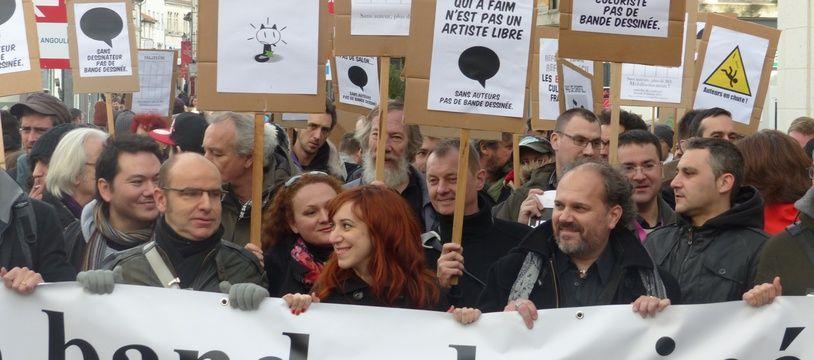 Manifestation d'auteurs de BD à Angoulême le 31 janvier 2015