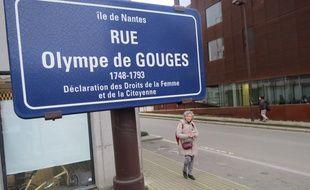 Rue Olympe de Gouges, sur l'île de Nantes.