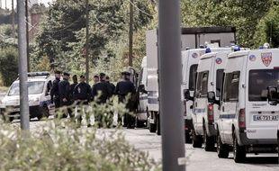 Déploiement de policiers à Grande-Synthe en septembre 2017 (image d'illustration).
