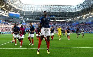Paul Pogba crie sa joie à la fin de France-Argentine en 8e de finale de Coupe du monde, le 30 juin 2018.