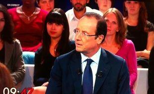 Capture d'écran de François Hollande dans «Des Paroles et des actes», l'émission de France 2 le jeudi 15 septembre 2011