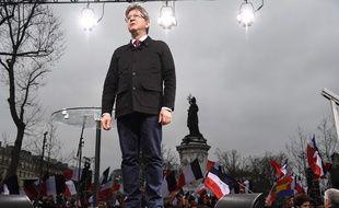 Jean-Luc Mélenchon place de la République le 18 mars 2017.