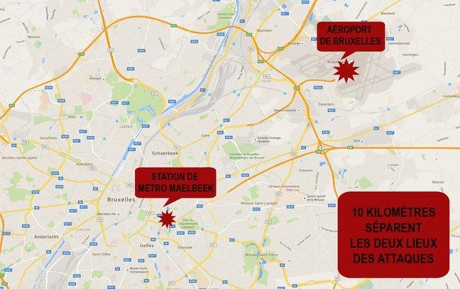 Les lieux des attaques de Bruxelles, le 22 mars 2016.