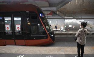 Le 9 mai dans une station souterraine de la ligne 2 du tramway de Nice