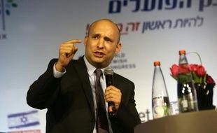 Naftali Bennett chef du parti le Foyer juif s'exprime lors d'une conférence, le 28 mars 2016 à Jérusalem