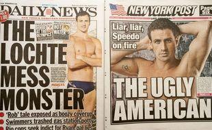 Des Unes de journaux après l'affaire de la vraie-fausse agression de Ryan Lochte lors des JO 2016.