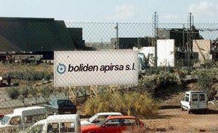 L'entrée de la mine d'Aznalcollar, en Andalousie, en avril 1998, après une grave pollution aux boues toxiques
