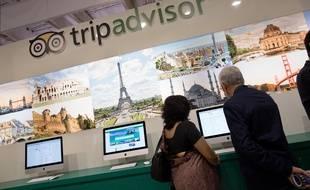 Un stand TripAdvisor à Paris.