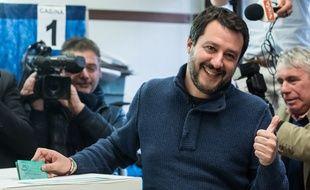 Le chef de file de la Ligue, Matteo Salvini, le 4 mars 2018 à Milan.