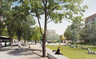 Image de synthèse du futur parc de la Prairie au Duc, le long du boulevard de l'Estuaire.