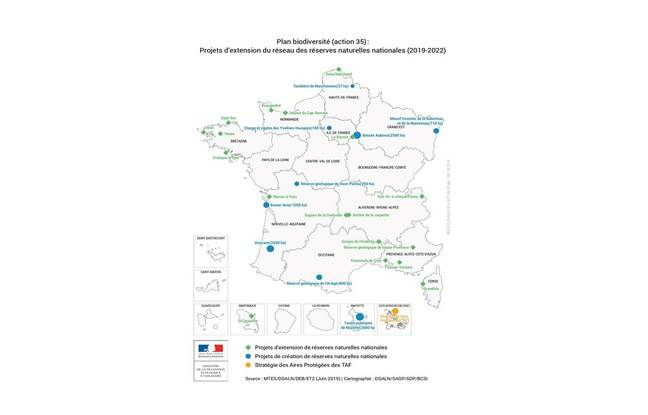 Pour arriver au 30% d'aires protégées en 2030, le gouvernement a identifié neuf projets de création de réserves naturelles nationales en métropole et en outre-mer, et 18 projets d'extension de réserves.