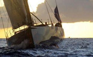 """Third placed French skipper Marc Guillemot sails on his monohull Imoca class """"Safran"""" Marc Guillemot (Safran) a pris lundi matin (heure de Paris) à Pointe-à-Pitre la troisième place des monocoques de 60 pieds IMOCA (18,28 mètres) engagés dans la Route du Rhum, derrière Roland Jourdain et Armel Le Cleac'h."""