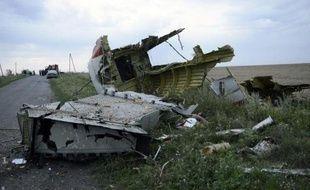 Des débris éparpillés de l'avion le 17 juillet 2014 près de Shaktarsk en Ukraine
