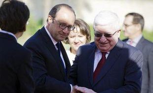 Le président français François Hollande et son homologue irakien Fouad Massoum (d), le 12 septembre 2014 à Bagdad