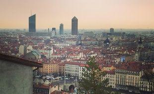 Lyon, le 26 mars 2018. Vue de Lyon depuis le site de l'Antiquaille sur la colline de Fourvière.