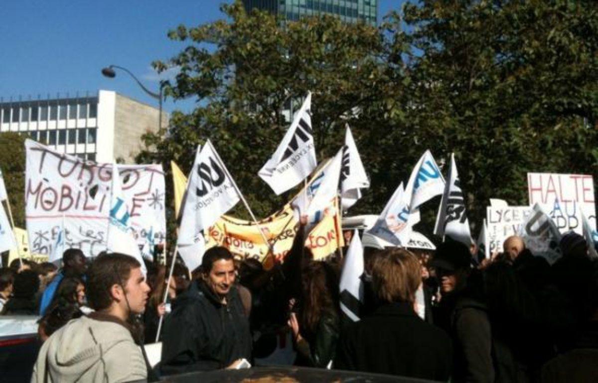 Manifestation d'étudiants devant la fac de Jussieu, à Paris, le jeudi 21 octobre. – DEDETTE/ 20minutes.fr
