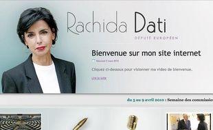 Le nouveau site de Rachida Dati, mis en ligne jeudi 8 avril 2010.