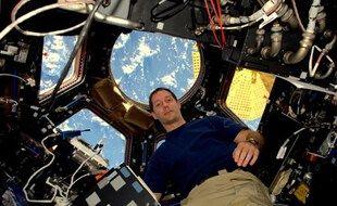 Thomas Pesquet à bord de la Station spatiale internationale le 19 novembre 2016; lors de son premier séjour.