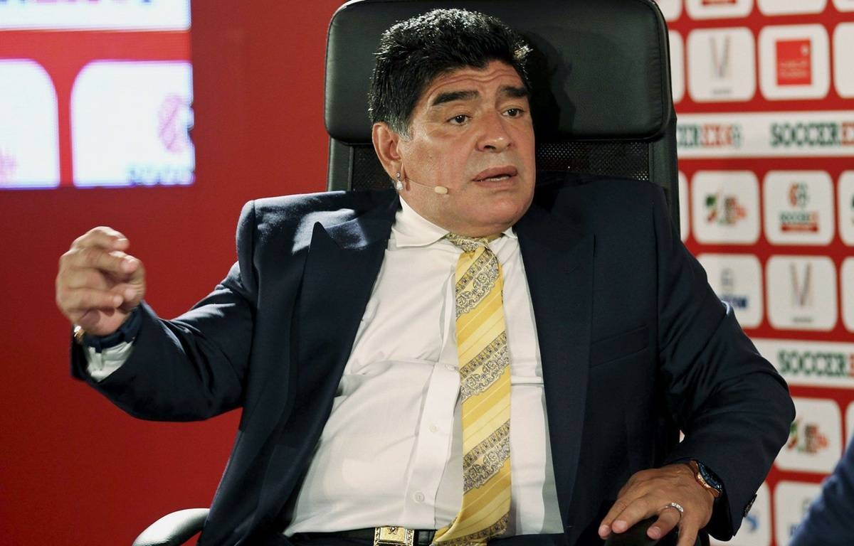 Diego Maradona, ici le 4 mai 2015 lors d'une intervention en Jordanie.  – Raad Adayleh/AP/SIPA