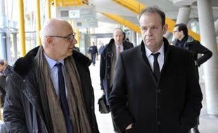 François Marie Banier et son avocat au tribunal de grande instance de Bordeaux.