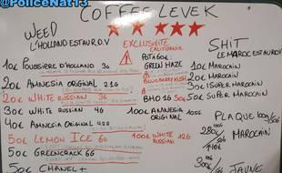 Les policiers ont trouvé une sorte de «menu» des produits stupéfiants proposés par un réseau