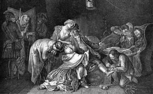 Un dessin représentant Jean Calas faisant ses adieux aux siens avant son exécution.