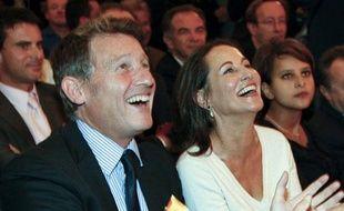 Les socialistes Vincent Peillon et Ségolène Royal, le 23 septembre 2008, lors d'un meeting à Paris.