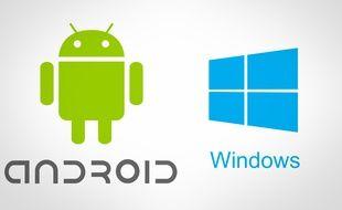 Les logos d'Android, de Google, et Windows, de Microsoft.