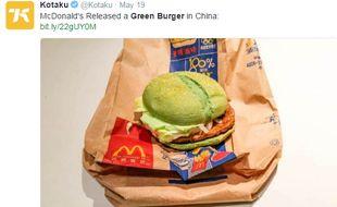 Le burger vert lancé par Mac Donald's en Chine