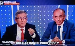 Le débat en direct sur BFMTV opposait Jean-Luc Mélenchon et Eric Zemmour. (Illustration)