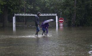 Inondations  à Souppes sur Loing, en Seine-et-Marne, le 4 juin 2016.