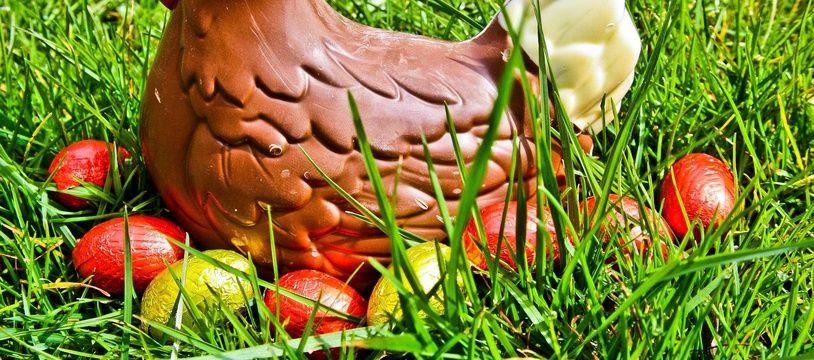Une poule en chocolat (illustration)