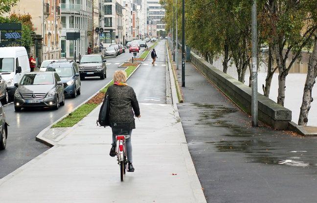La nouvelle piste cyclable du quai de la Prévalaye à Rennes.