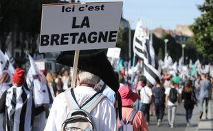 Illustration d'une manifestation en faveur de la réunification de la Bretagne en 2014 à Nantes.
