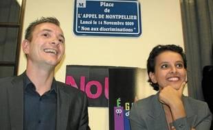 Vincent Autin et la ministre Najat Vallaud-Belkacem, le 27 septembre, à Montpellier.