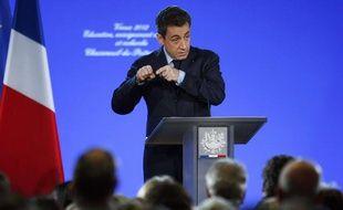 Nicolas Sarkozy lors de ses voeux au monde de l'éducation à Chasseneuil-du-Poitou (Charente), le 5 janvier 2012.