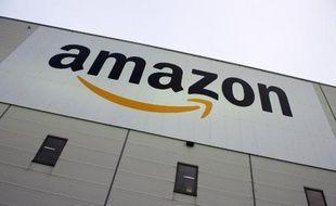 Le logo du géant de la distribution en ligne américain Amazon, le 11 novembre 2014 à Berlin