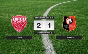 Ligue 1, 14ème journée: Dijon bat le Stade Rennais 2-1 à domicile