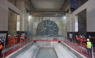 Percée du tunnelier Sofia sur le chantier de la ligne 11