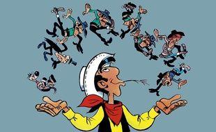 Lucky Luke jonglant