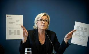 Marine Le Pen, le 22 novembre 2017, au QG du FN à Nanterre.