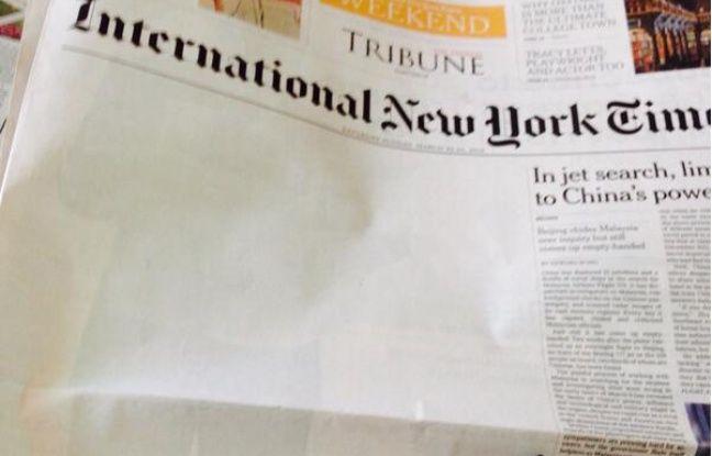 La une du International New York Times de samedi 22 mars 2014, amputée d'un article sur les liens entre le Pakistan et al-Qaïda.